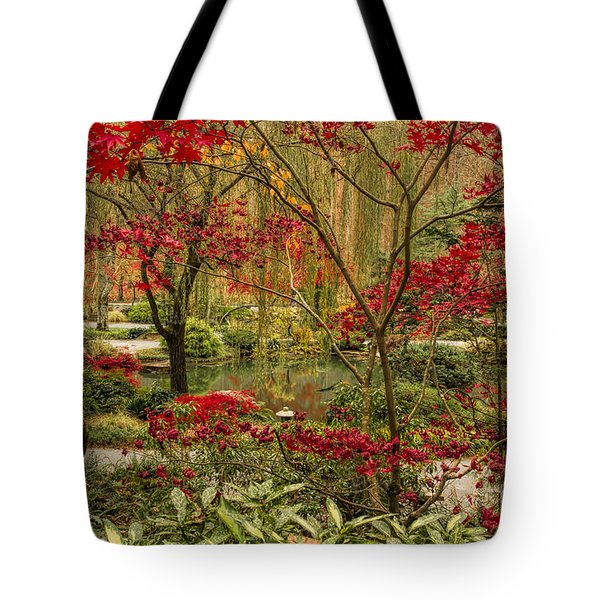 Fall Color In The Japanese Gardens Tote Bag by Barbara Bowen