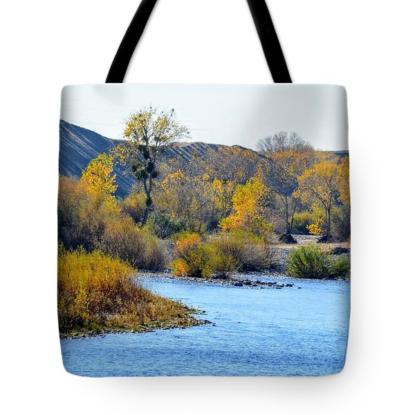 Tote Bag featuring the photograph Fall Color On The Yuba  by AJ Schibig