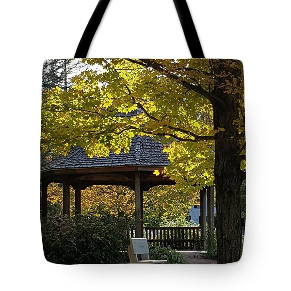 Fall Color Over Newbury Vt Bandstand Tote Bag