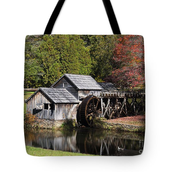 Fall Colors At Mabry Mill Blue Ridge Parkway Tote Bag by Nature Scapes Fine Art