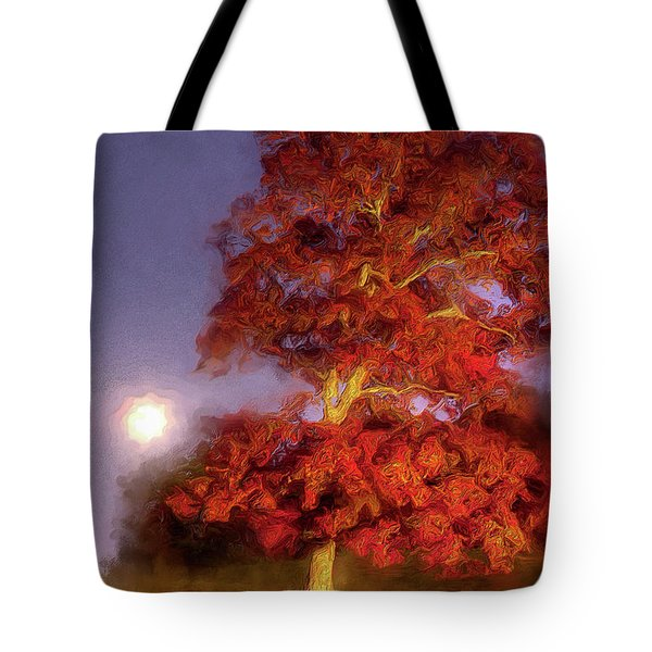 Tote Bag featuring the painting Fall Colors Moonrise In The Blue Ridge Ap by Dan Carmichael