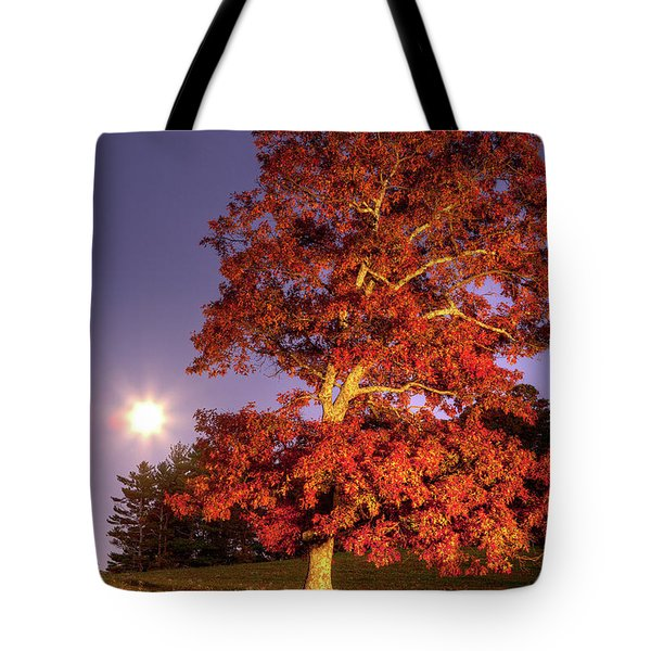 Tote Bag featuring the photograph Fall Colors Moonrise In The Blue Ridge by Dan Carmichael