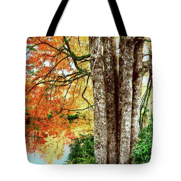 Fall Colors Reflecting In A Blue Ridge Lake Ap Tote Bag
