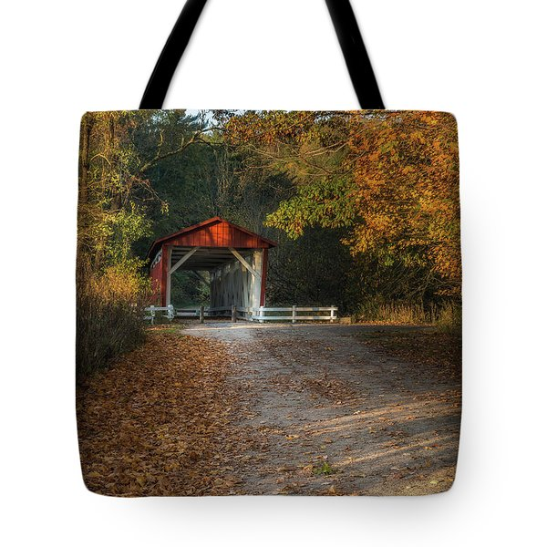 Tote Bag featuring the photograph Fall Covered Bridge by Dale Kincaid