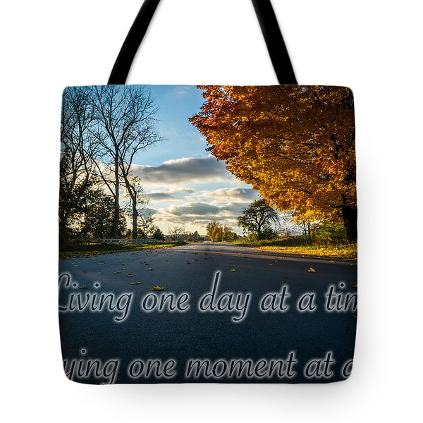 Tote Bag featuring the photograph Fall Day With Saying by Lester Plank