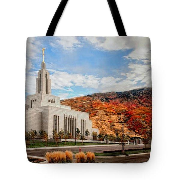 Fall Draper Temple Tote Bag by La Rae  Roberts