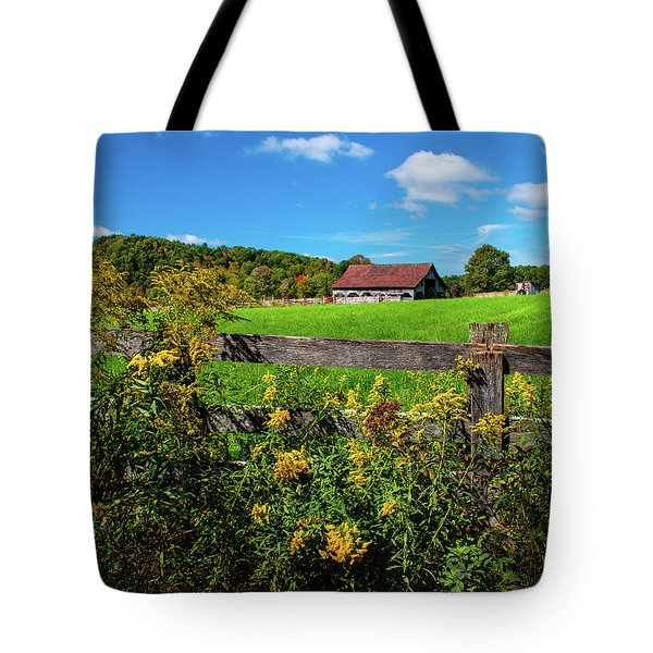 Tote Bag featuring the photograph Fall Farm by Rebecca Hiatt