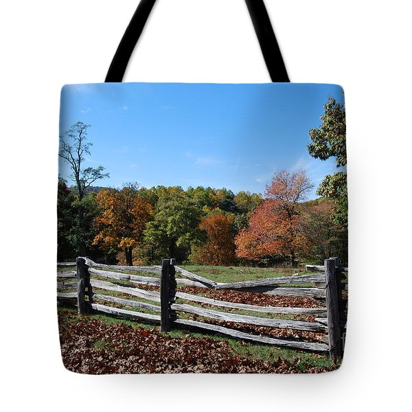 Tote Bag featuring the photograph Fall Fence by Eric Liller