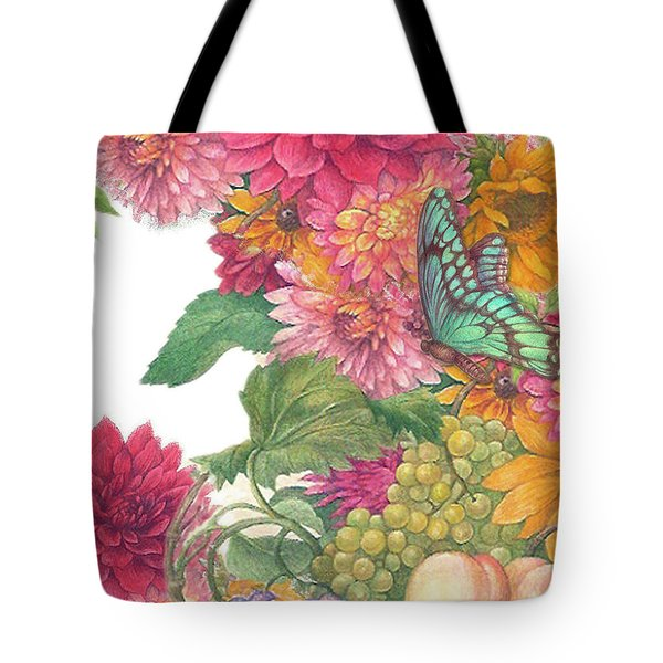 Fall Florals With Illustrated Butterfly Tote Bag
