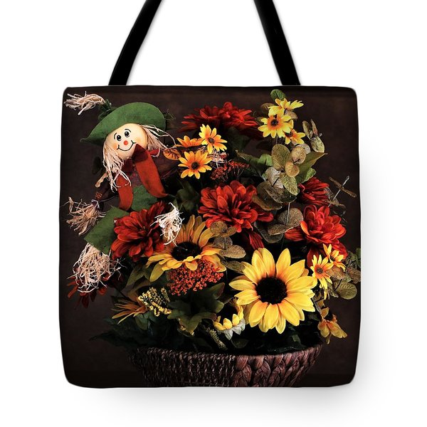 Tote Bag featuring the photograph Fall Flowers And Scarecrow by Sheila Brown
