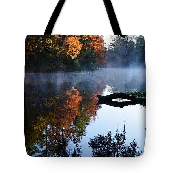 Fall Fog Tote Bag by Warren Thompson