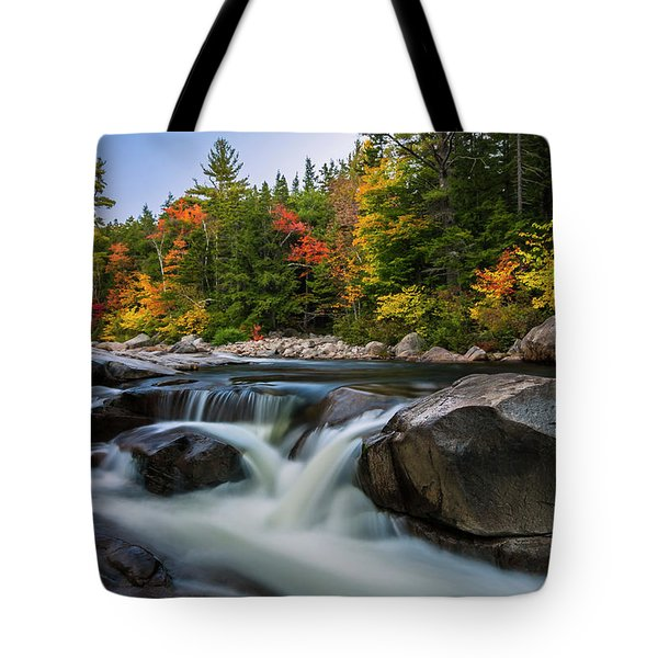 Fall Foliage Along Swift River In White Mountains New Hampshire  Tote Bag