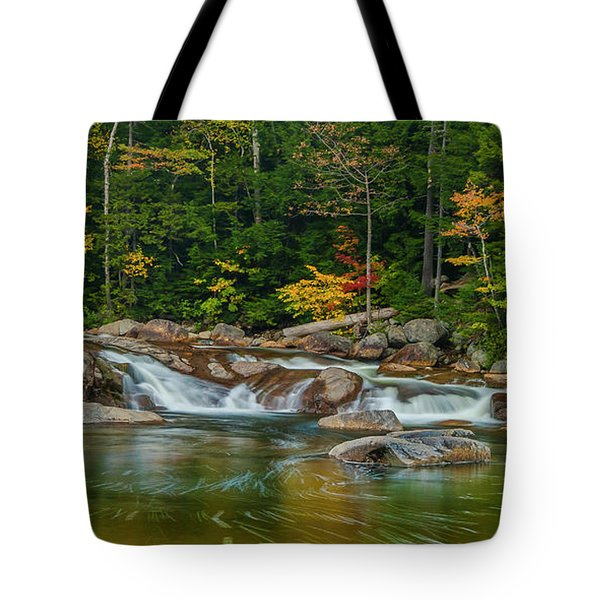 Fall Foliage In Autumn Along Swift River In New Hampshire Tote Bag