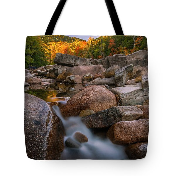 Tote Bag featuring the photograph Fall Foliage In New Hampshire Swift River by Ranjay Mitra