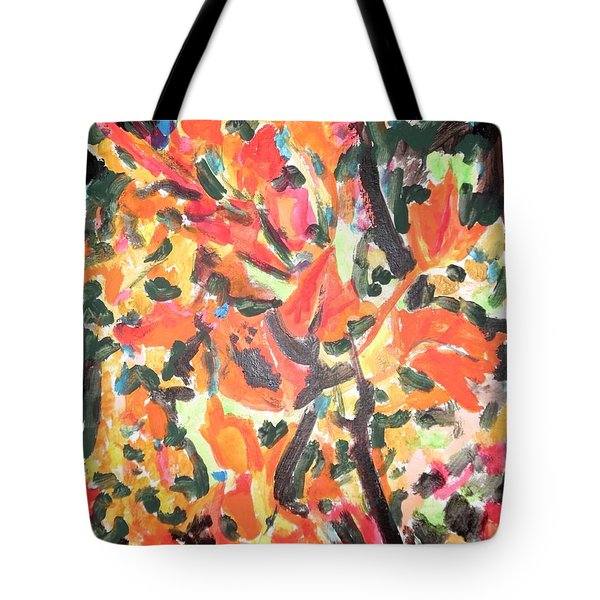 Fall Forest In Red And Black Tote Bag
