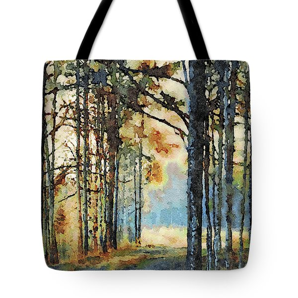 Fall Forest Watercolor Tote Bag