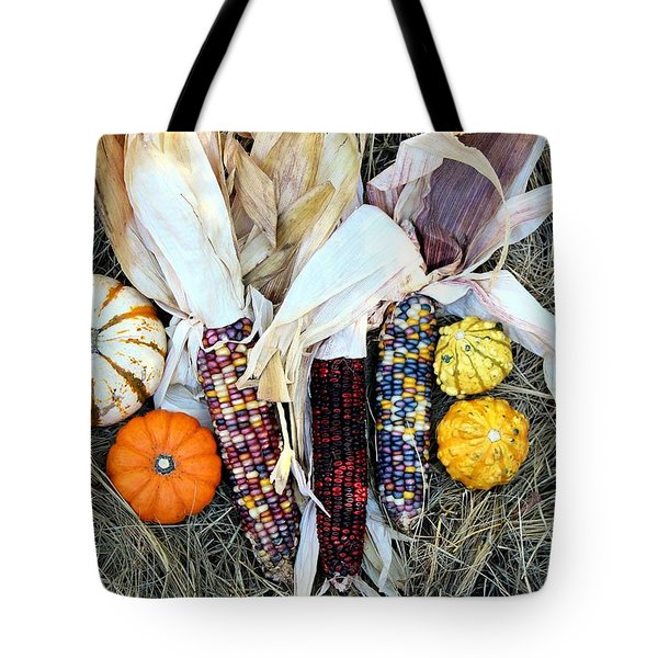 Tote Bag featuring the photograph Fall Harvest On Hay by Sheila Brown