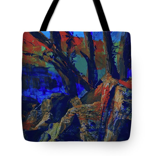Tote Bag featuring the painting Fall Hiking Trail 1 by Walter Fahmy