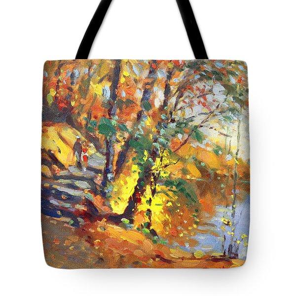 Fall In Bear Mountain Tote Bag by Ylli Haruni