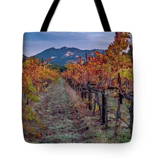 Tote Bag featuring the pastel Fall In Wine Country by Bill Gallagher