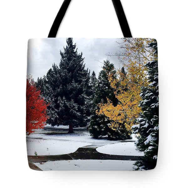 Fall Into Winter Tote Bag by Russell Keating
