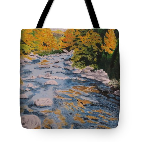 Tote Bag featuring the painting Fall Is Coming by Hilda and Jose Garrancho