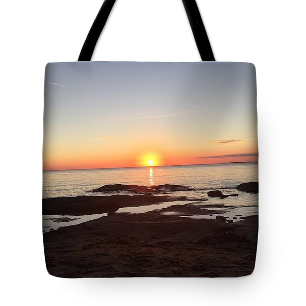 Tote Bag featuring the photograph Fall Lake Superior Sunset by Paula Brown