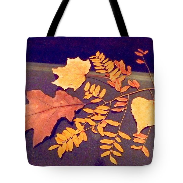 Fall Leaves On Granite Counter Tote Bag by Annie Gibbons