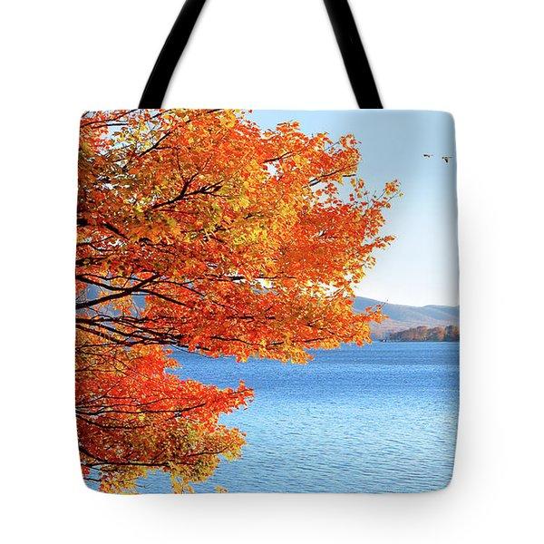 Fall Maple Tree Graces Smith Mountain Lake, Va Tote Bag by The American Shutterbug Society