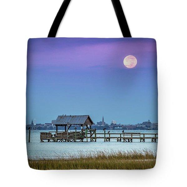 Fall Moon And King Tide - Charleston Sc Tote Bag
