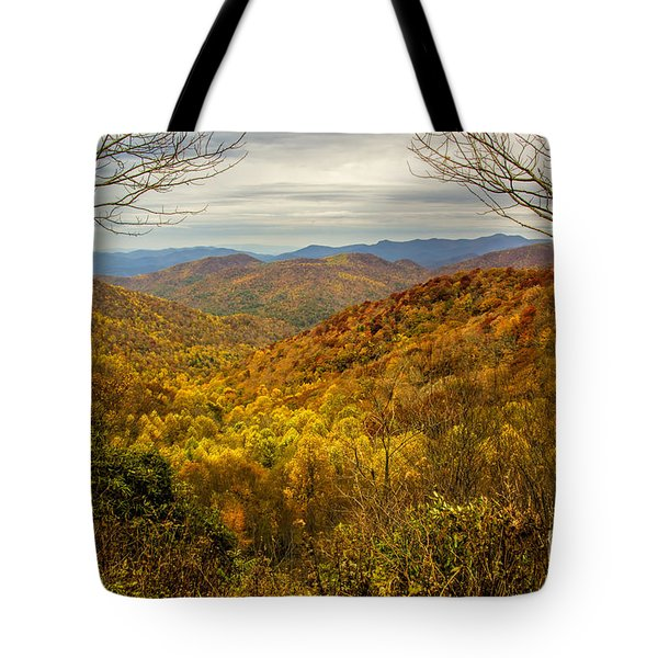Tote Bag featuring the photograph Fall Mountain Overlook by Barbara Bowen