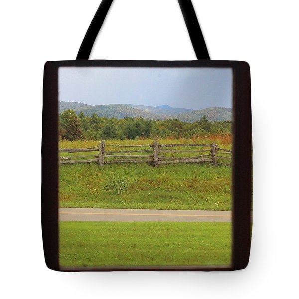 Fall Mountains Through The Window  Tote Bag