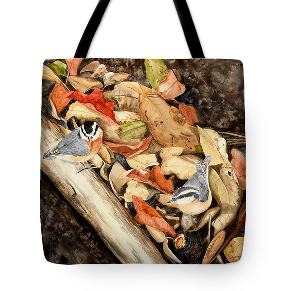 Fall Nuthatch Pair Tote Bag