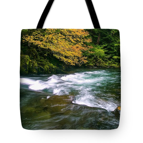 Fall On The Clackamas River, Or Tote Bag