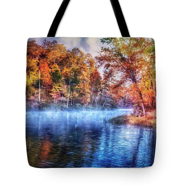 Tote Bag featuring the photograph Fall On The Lake by Debra and Dave Vanderlaan