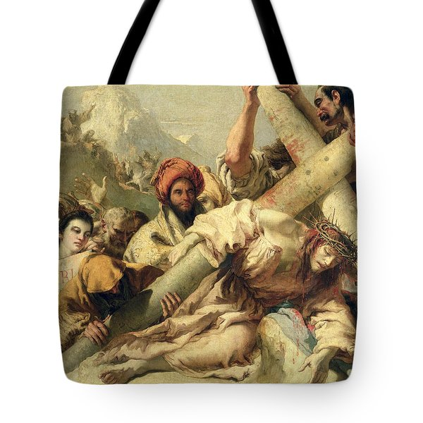 Fall On The Way To Calvary Tote Bag by G Tiepolo