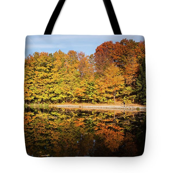 Fall Ontario Forest Reflecting In Pond  Tote Bag