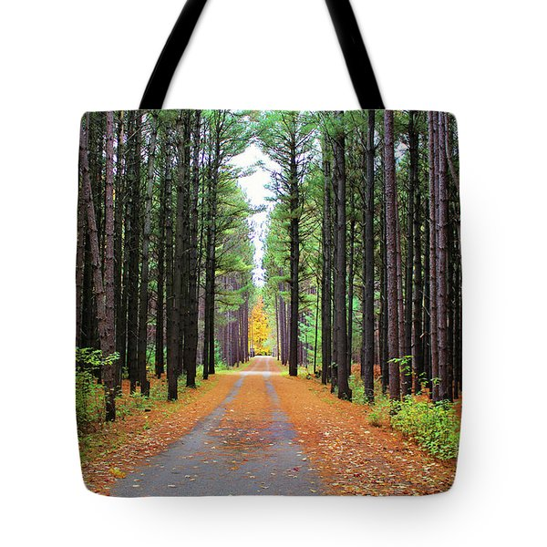 Fall Pines Road Tote Bag