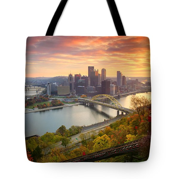 Fall Pittsburgh Skyline  Tote Bag by Emmanuel Panagiotakis