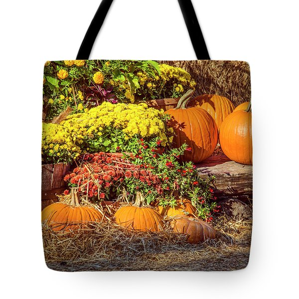 Fall Pumpkins Tote Bag by Carolyn Marshall
