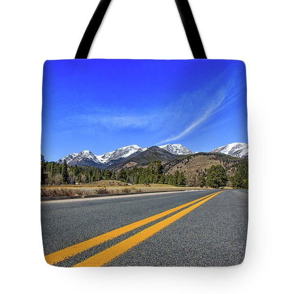 Fall River Road With Mountain Background Tote Bag by Peter Ciro