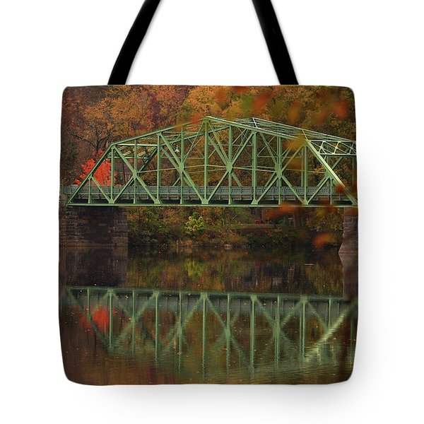 Fall Rocks Village Bridge Tote Bag
