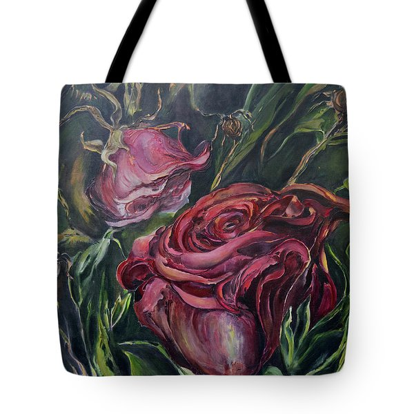 Tote Bag featuring the painting Fall Roses by Nadine Dennis