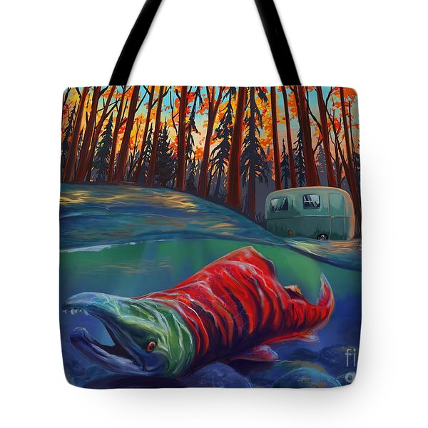 Fall Salmon Fishing Tote Bag