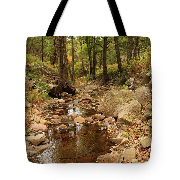 Fall Stream And Rocks Tote Bag