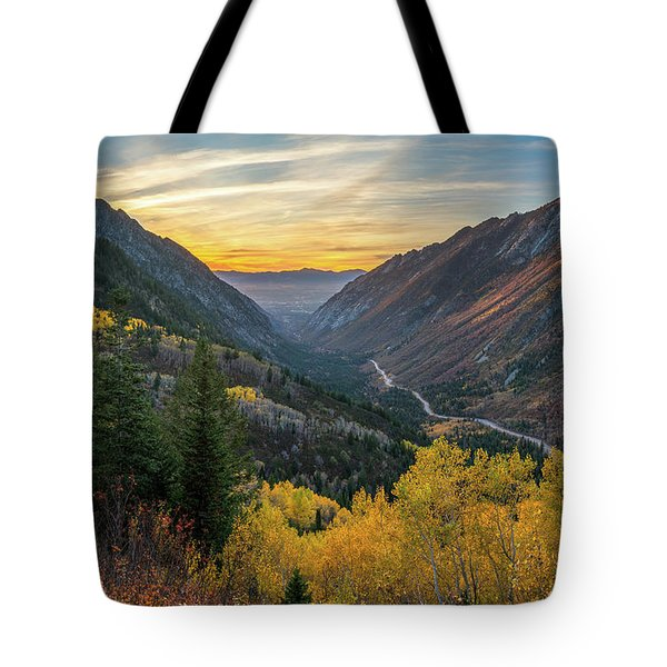 Fall Sunset In Little Cottonwood Canyon Tote Bag