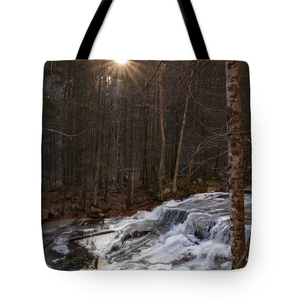 Fall Sunset On Stream Tote Bag