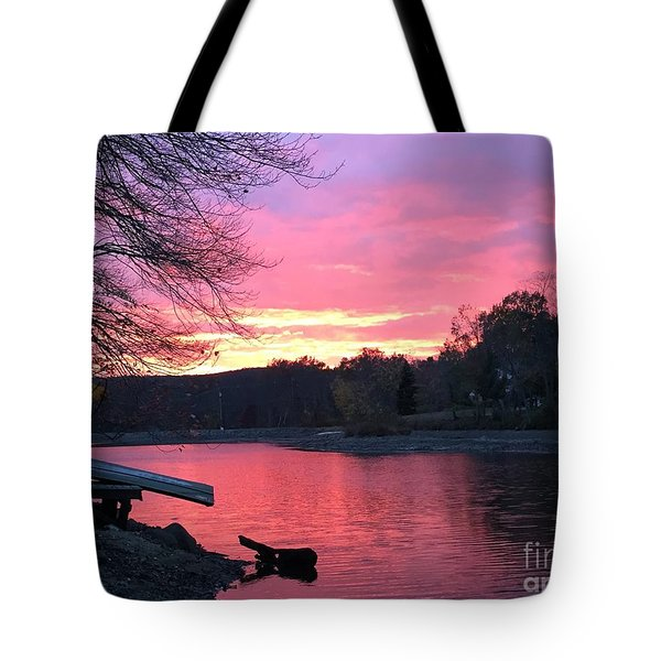 Fall Sunset On The Lake Tote Bag by Jason Nicholas