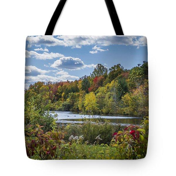 Fall Time On The Lake Tote Bag