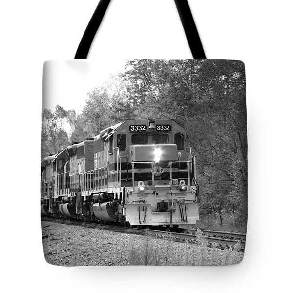 Fall Train In Black And White Tote Bag